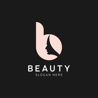 B brief luxe schoonheid gezicht logo ontwerp vector