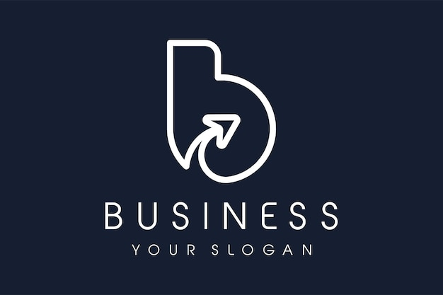 B-logo pijl. letter b design vector illustratie moderne mono lijn icoon.