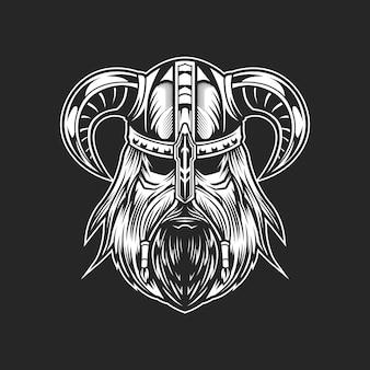 B & w viking hoofd