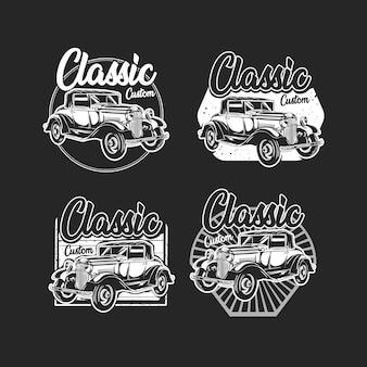 B & wof b & w klassieke auto met embleem op maat