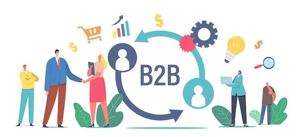 B2b, business to business partnerschap samenwerkingsconcept. zakenman en zakenvrouw karakters handen schudden, samenwerking van het bedrijf, transactie van diensten. cartoon mensen vectorillustratie