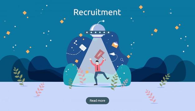 Baan aannemen en online rekruteringsconcept met het karakter van kleine mensen. selecteer een cv-proces.