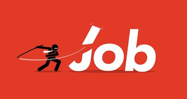 Baan gesneden door zakenman. artwork toont bezuinigingen, vermindering van mankracht, inkrimping van het bedrijf en ontslagen van werknemers.