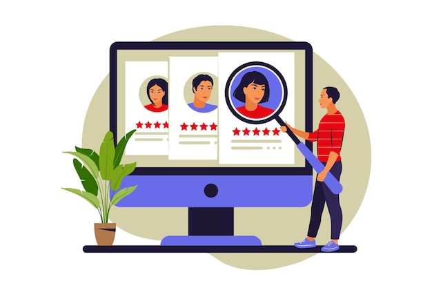 Baan jacht concept. sollicitatiegesprek, arbeidsproces, het kiezen van een kandidaat-concept. vector illustratie. vlak.