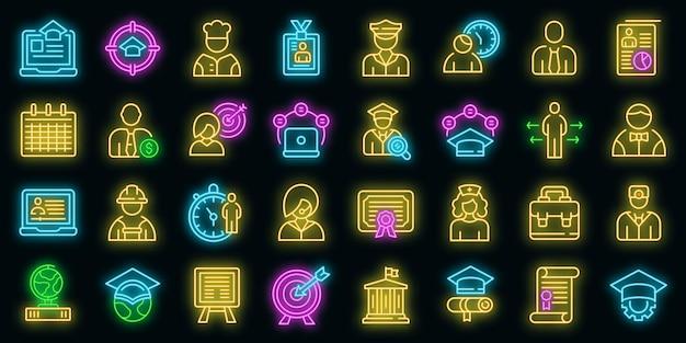 Baanstudenten pictogrammen instellen vector neon