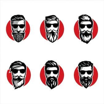 Baard kapper illustratie set
