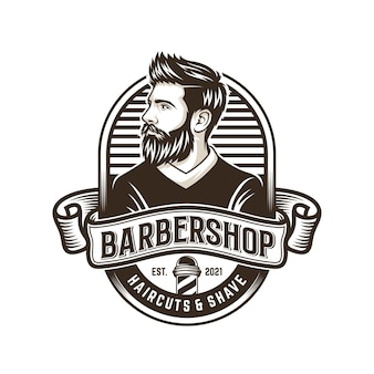 Baard man ontwerp logo afbeelding