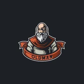 Baard oldman karakter illustratie ontwerp