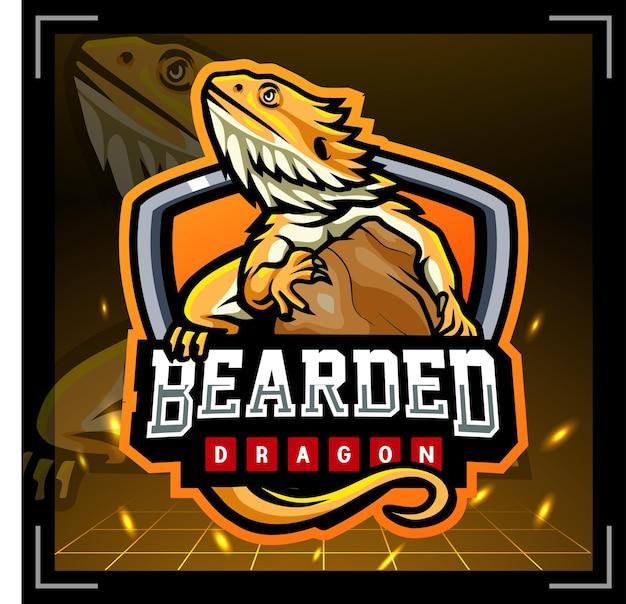 Baardagaam mascotte esport logo ontwerp