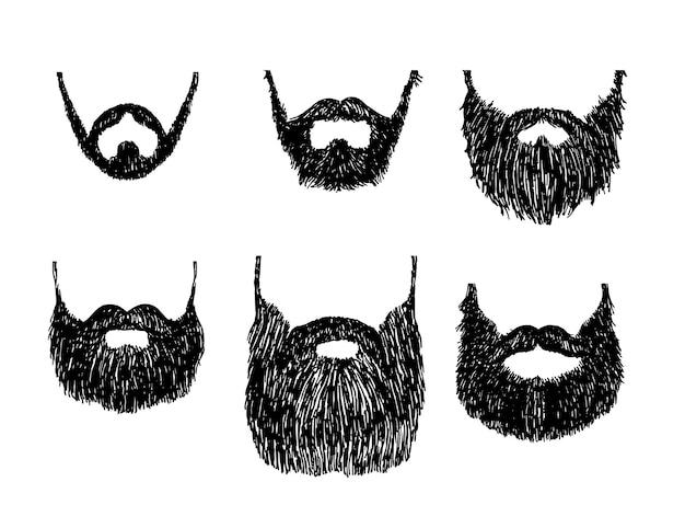 Baarden en snorren, verschillende soorten. vector schets illustratie