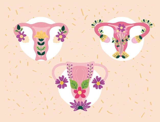 Baarmoeder met bloemen set