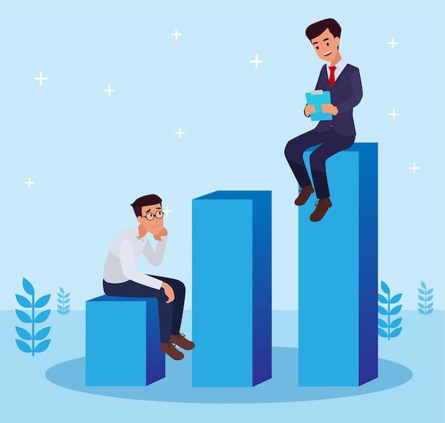 Baas die werknemer op de werkplek instrueert. mannelijke kantoorpersoneel gekleed in slimme kleren met elkaar praten. platte cartoon vectorillustratie.