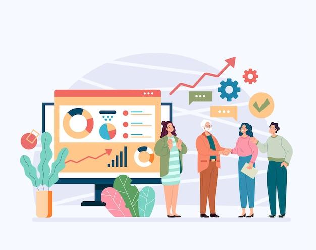 Baas karakter schudden hand aan vrouw kantoormedewerker winnaar collega succesvolle online business team concept