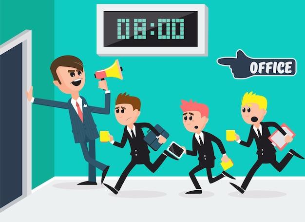 Baas met megafoon. werknemers rennen naar kantoor. zakenlieden gaan werken. vector illustratie
