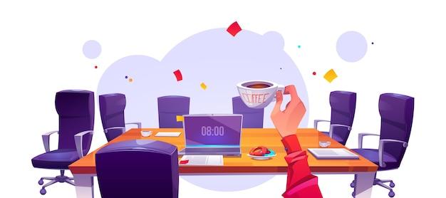 Baas op kantoor werkplek in ochtend uitzicht vanaf eerste persoon, zakenman met koffiekopje zittend aan tafel met laptop en fauteuils rond