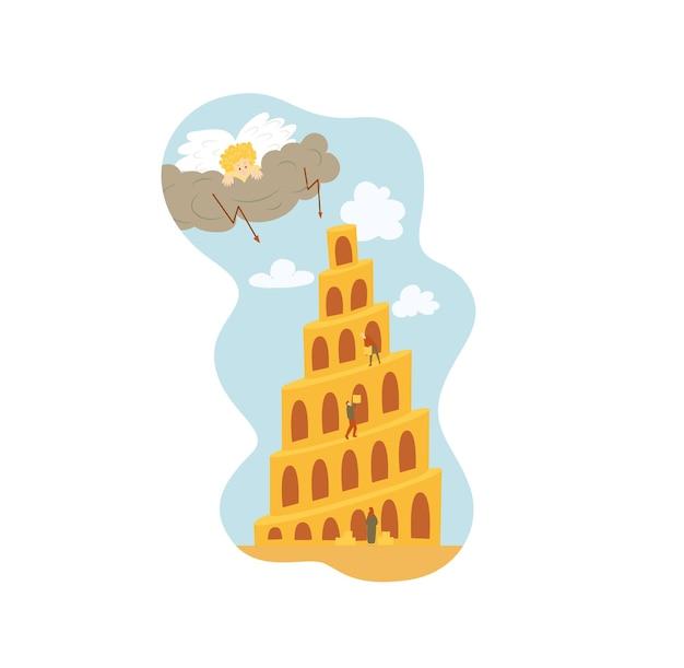 Babel tower bijbelverhaal geïsoleerd op witte achtergrond