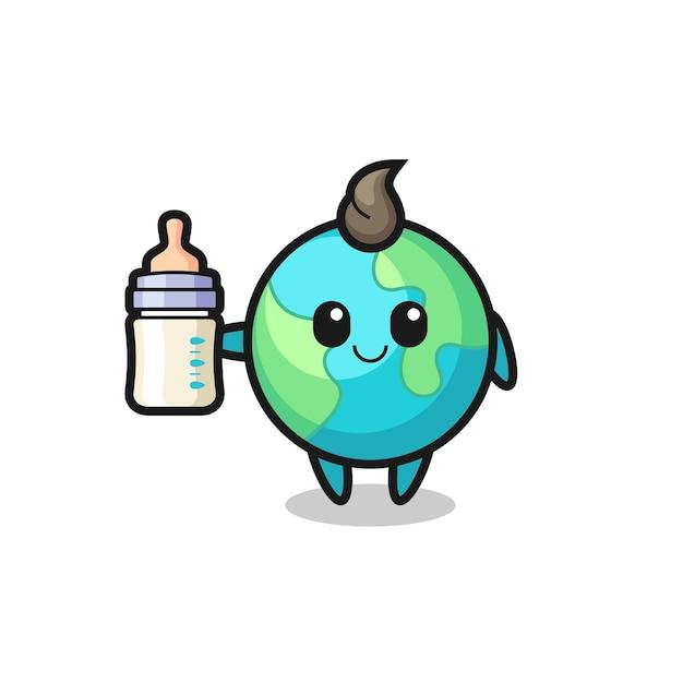 Baby aarde stripfiguur met melkfles, schattig stijlontwerp voor t-shirt, sticker, logo-element