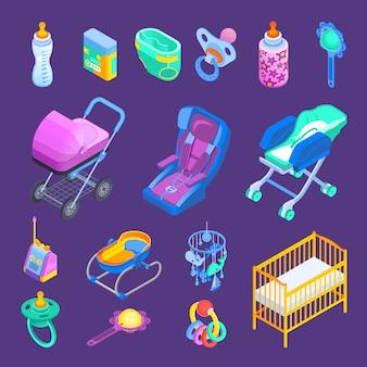 Baby accessoires isometrische set