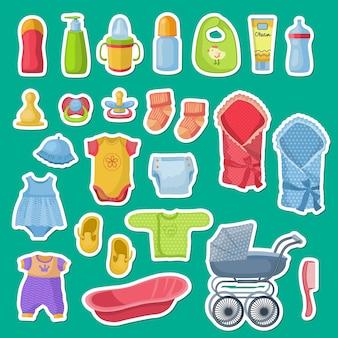 Baby accessoires stickers geïsoleerd op groen
