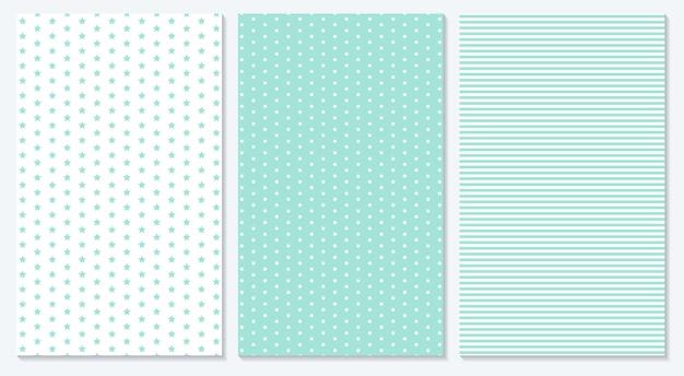 Baby achtergrond. blauw patroon. illustratie. polka dot, strepen, sterrenpatroon.