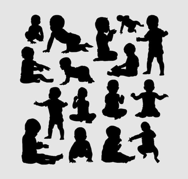 Baby activiteit silhouet