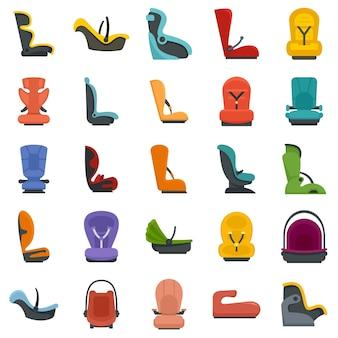 Baby-autostoeltje pictogrammen instellen. platte set van baby-autostoeltje vector iconen geïsoleerd op een witte achtergrond