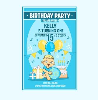 Baby baby peuter jongen verjaardagsfeestje uitnodigingskaart