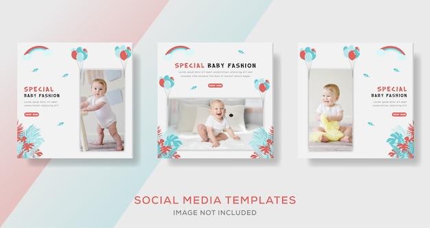 Baby banner sjabloon post voor mode verkoop.