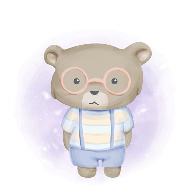 Baby beer met bril aquarel