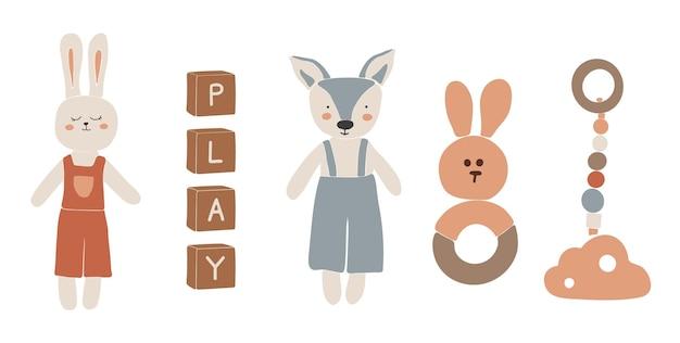 Baby boho-speelgoed, abstract boho-speelgoed, schattig minimaal speelgoed, speelgoed, speelgoedset, houten elementen voor kinderen