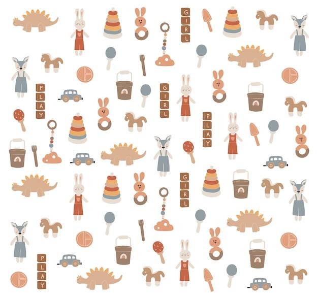 Baby boho speelgoed, abstract boho speelgoed, schattig minimaal speelgoed voor kinderen, speelgoed, speelgoed set, leuke elementen voor kinderen, moderne collectie, illustratie