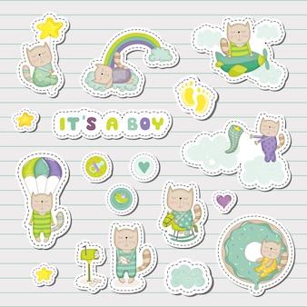 Baby boy stickers, patches voor baby shower party celebration. decoratieve elementen voor pasgeboren viering. illustratie