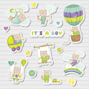 Baby boy stickers voor baby shower party celebration. decoratieve elementen voor pasgeboren viering. illustratie