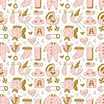 Baby care spullen, kleding, speelgoed hand getekende naadloze patroon