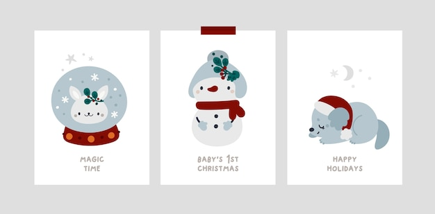 Baby christmas holiday mijlpaalkaarten. feestelijke kerstkaarten