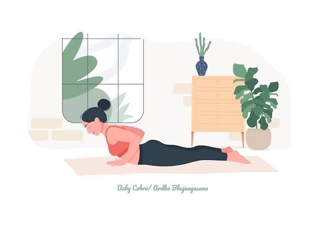 Baby cobra yoga pose jonge vrouw die yoga-oefening beoefent