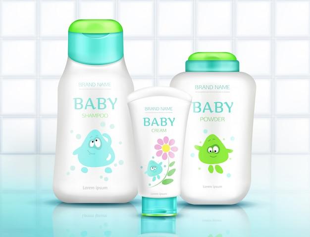 Baby cosmetica flessen met kinder ontwerp, plastic verpakkingen
