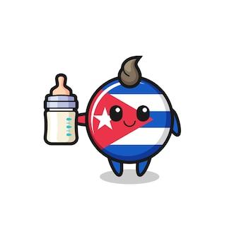 Baby cuba vlag badge stripfiguur met melkfles, schattig stijlontwerp voor t-shirt, sticker, logo-element