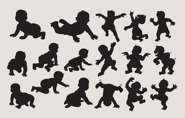 Baby dansend en kruipend silhouet