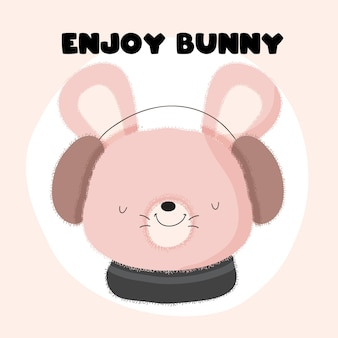 Baby dier konijntje en muziek cute cartoon vlakke stijl