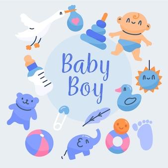 Baby douche jongen behang met speelgoed