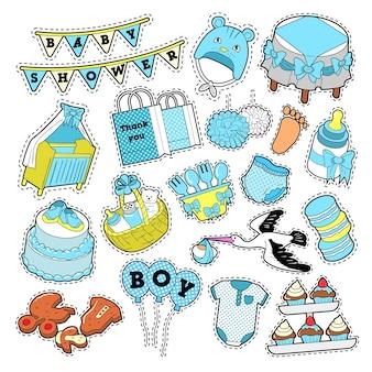Baby douche jongen stickers, insignes, patches voor verjaardagsfeestje decoratie. vector doodle