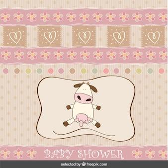 Baby douche-kaart met schattige koe
