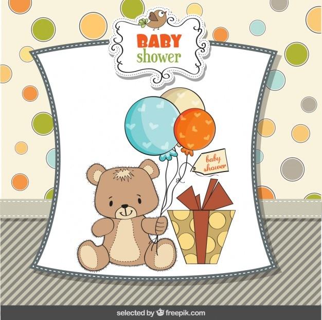 Baby douche-kaart met schattige teddybeer