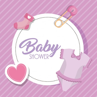 Baby douche kaart met set pictogrammen