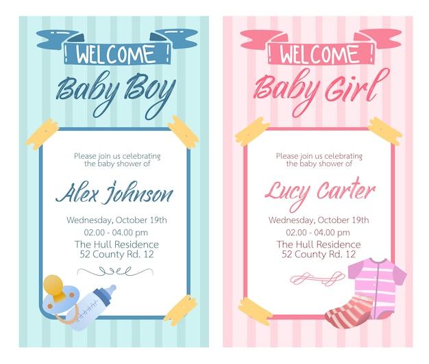 Baby douche kaart ontwerp vector voor baby meisje en baby jongen collectie set.