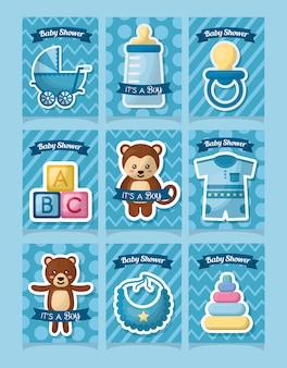 Baby douche kaart stickers dieren speelgoed kleding jongen geboren dag viering