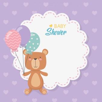 Baby douche kant kaart met kleine beer teddy en ballonnen helium