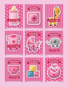 Baby douche kleding kubussen speelgoed dier schattig meisje geboren