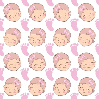 Baby douche meisje naadloze patroon. vector roze patroon met een naadloos patroon.